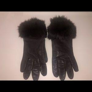 Genuine Rabbit Fur Leather Gloves